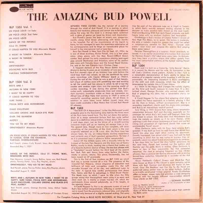 The Amazing Bud Powellのジャケット裏